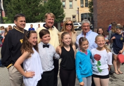 "October 1, 2016: Senator Fontana visited the Pittsburgh Musical Theater in the West End where students performed a variety of numbers during their ""Dancing in the Streets"" days. The annual event is held as part of RADical Days. Senator Fontana is joined here with Rich Hudic, Executive Director of RAD, County Executive Rich Fitzgerald, Colleen Doyno, Pittsburgh Musical Theater Executive Artist Director, along with PMT students."