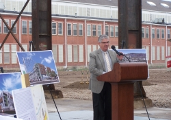 November 11, 2015: Senator Fontana spoke at a groundbreaking ceremony for the Fort Willow residential project in Lawrenceville. Developers Alex Simakas and Walnut Capital are building apartments that will include a massive public space at the site of a 1930's foundry.