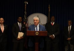 September 25, 2018:  Senator Wayne Fontana joined colleagues in the Senate and House at a press conference to announce legislation regarding police management and community relations.
