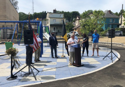 August 21, 2020: Senator Fontana participated in a ribbon cutting ceremony at Townsend Parklet in Elliot on Aug. 21. Townsend Parklet recently underwent a major renovation, funded in part by a $200,000 state grant from the Department of Conservation and Recreation.