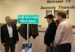 October 4, 2014: Senator Fontana is pictured here with Marcia and Michael Ruane and County Executive Rich Fitzgerald moments after the Captain Sean M. Ruane Memorial Highway sign was unveiled on October 4th.