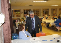 October 24, 2012: Senator Fontana speaks with Larene Walsh at the Senior Flu/Pneumonia Shot Clinic he hosted at Church of the Resurrection in Brookline.