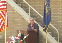May 26, 2012: Senator Fontana addresses the crowd at the unveiling of the Castle Shannon Military Banner Program