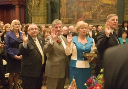 January 4, 2011: Senator Fontana is flanked by Senator Ferlo, on the left, and Senator Boscola and Senator Blake to the right, who were all sworn in today by Supreme Court Justice Max Baer.