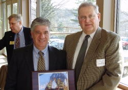 February 28, 2011: After speaking to the Construction Legislative Council (CLC) last week, Senator Fontana is presented a gift from CLC Vice Chairman Bill Ligetti.