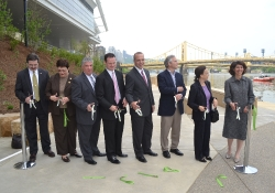 May 12, 2011: Senator Fontana participats in the ribbon cutting for the new Convention Center Riverfront Plaza. From left to right are SEA Board Member Mike Dunleavy, Pittsburgh Councilwoman Darlene Harris, Senator Fontana, Pittsburgh Mayor Luke Ravenstahl, Allegheny County Executive Dan Onorato, SEA Treasurer Anthony Ross, SEA Secretary Edie Shapira and SEA Executive Director Mary Conturo.