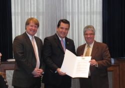 October 30, 2012: Senator Fontana presents David Sanchez Guevara, the Mayor-Elect of Naucalpan, Mexico with a Senate Certificate of Appreciation during the Mayor-Elect's visit to Pittsburgh