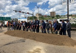 """June 14, 2019: Senator Fontana served as the emcee during a groundbreaking ceremony in the lower Hill District for the I-579 Cap project. The project which includes federal, state and local funds, involves placing a """"cap"""" over I-579 and creating public space that reconnects the Hill District with downtown Pittsburgh."""