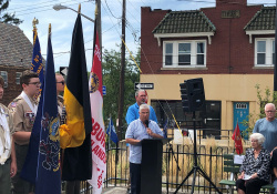 August 31, 2019: Senator Fontana attended the Honor Roll Dedication Ceremony in Brookline where a new plaque was presented.  The new plaque lists the 56 heroes who lost their lives in defense of our country during World Wars I and II, the Korean War, and Vietnam War.