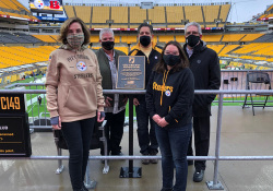 November 15, 2020: Senator Fontana participated in a Pittsburgh Steelers pregame ceremony on Sunday at Heinz Field as the Steelers re-dedicated a seat as part of the One Empty Seat program.  This Chair of Honor program honors soldiers who are missing in action or prisoners of war. Senator Fontana was jointed by Senator Pam Iovino, Senator Lindsey Williams, Senator Jay Costa, and Jim Sacco, Steelers VP of Stadium Operations and Management.