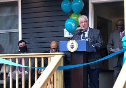 March 31, 2021: Senator Fontana participated in a ribbon cutting ceremony  at Habitat's newest Veteran's home in the City of Pittsburgh's Larimer neighborhood.