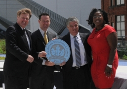 May 10, 2012: Senator Fontana, pictured with Allegheny County Executive Rich Fitzgerald and city of Pittsburgh Mayor Luke Ravenstahl, accepts a plaque from Kimberly Lewis of the U.S. Green Building Council.