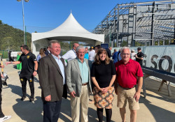 September 17, 2021: and Coraopolis Borough for a final beam raising ceremony for the AHN Montour Health & Sports Medicine Center in Coraopolis on Sept. 17. The conversion of a blighted rail yard is being transformed into a 78-acre facility that will feature 10 synthetic soccer and multipurpose fields, two of which will be indoors, and a 20,000-square-foot AHN clinic offering a full range of services including walk-in primary and pediatric care and sports medicine programs. Senator Fontana was proud to support a state Redevelopment Assistance Capital Program grant for this project that will be a terrific economic generator for Coraopolis, Neville and surrounding communities.