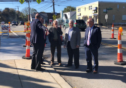 October 2019: Senator Fontana and Representative Dan Deasy joined Dave Montz – Green Tree Borough Manager, Mark Sampogna – Green Tree Council President, and John Novak – Green Tree Councilperson last week to view sidewalk upgrades made along Greentree Road as a result of state multimodal funding the borough received.